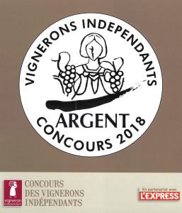 Médaille d'Argent concours vignerons indépendants 2018